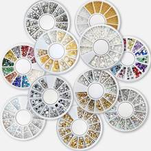 1 Wheel 3D Colorful Sharp Crystal AB Colors Nail Rhinestone Wheel Shiny Glitter Nail Art Tips Decoration Tools 1pcs nail art box tips crystal glitter rhinestone nail art 3d decoration jewelry wheel tool rhinestoens for nails decorations