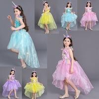 Unicorn Party Dress for girl Dresses Irregular Cinderella Dress Children Elegant Girls Princess Party Dress with Hair Hoop