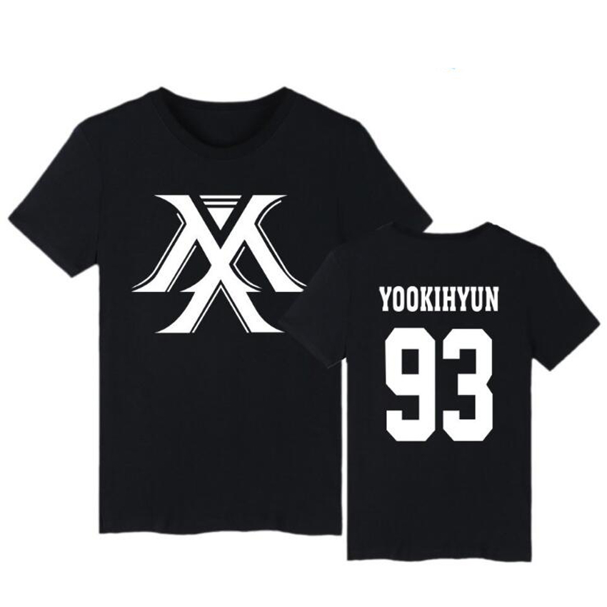 Korean Fashion MONSTA X Kpop Short Sleeve T Shirt Women Men Unisex Harajuku Hip Hop Cotton Tops Tees Brand Clothing Plus Size