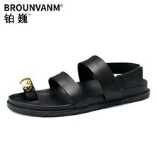 Mens roman sandals Summer Genuine Leather cool slippers men fashion breathable beach shoes mens gladiator summer