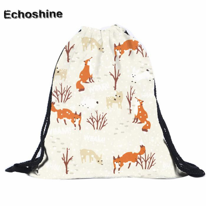2016 Hot Sale Unisex Polyester  Backpacks 3d Fox Printing Bags Drawstring Backpack Gift Wholesale Mochila Feminine A0000