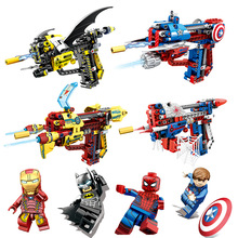Super Hero Series Toys Gun Children Educational Small Particles Assembled Can Launch Diy Building Blocks Compatible Legoing I19 loz diamond blocks small particles mini building blocks bagged animal series children s educational assembled toys