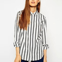 Spring Ladies' Cotton Shirt Classic Striped Shirt Long Sleeve Lapel Blouse Casual Slim Blouse Simple OL Shirt Style Tops BM4455