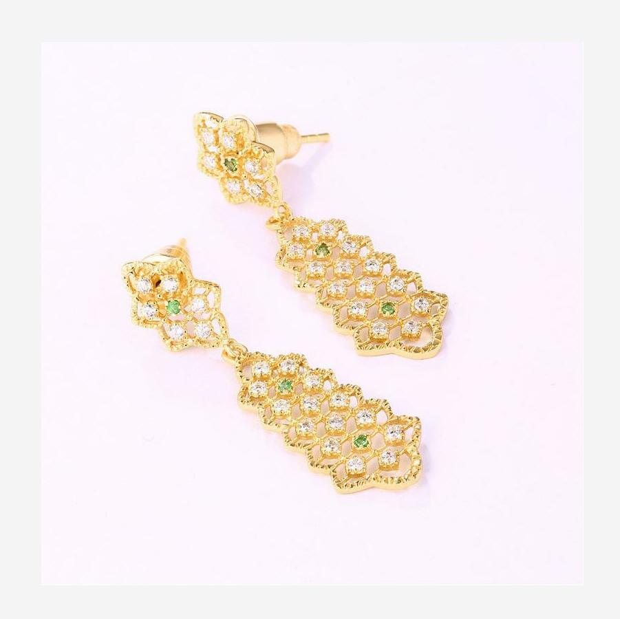 New 925 sterling silver retro hollow garnet earrings ladies J0163 in Earrings from Jewelry Accessories