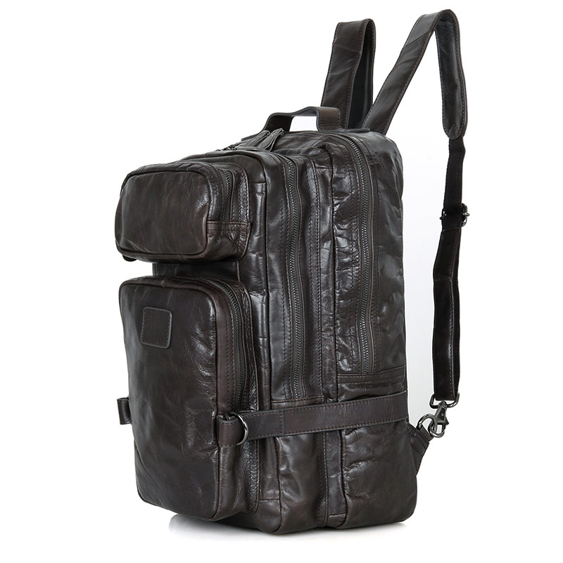 be32d1eaa5 J.M.D Large Capacity Genuine Leather Male Fashion Backpack Two Zipper  Layers Popular Travel Bag for Youth 7039I-in Backpacks from Luggage   Bags  on ...