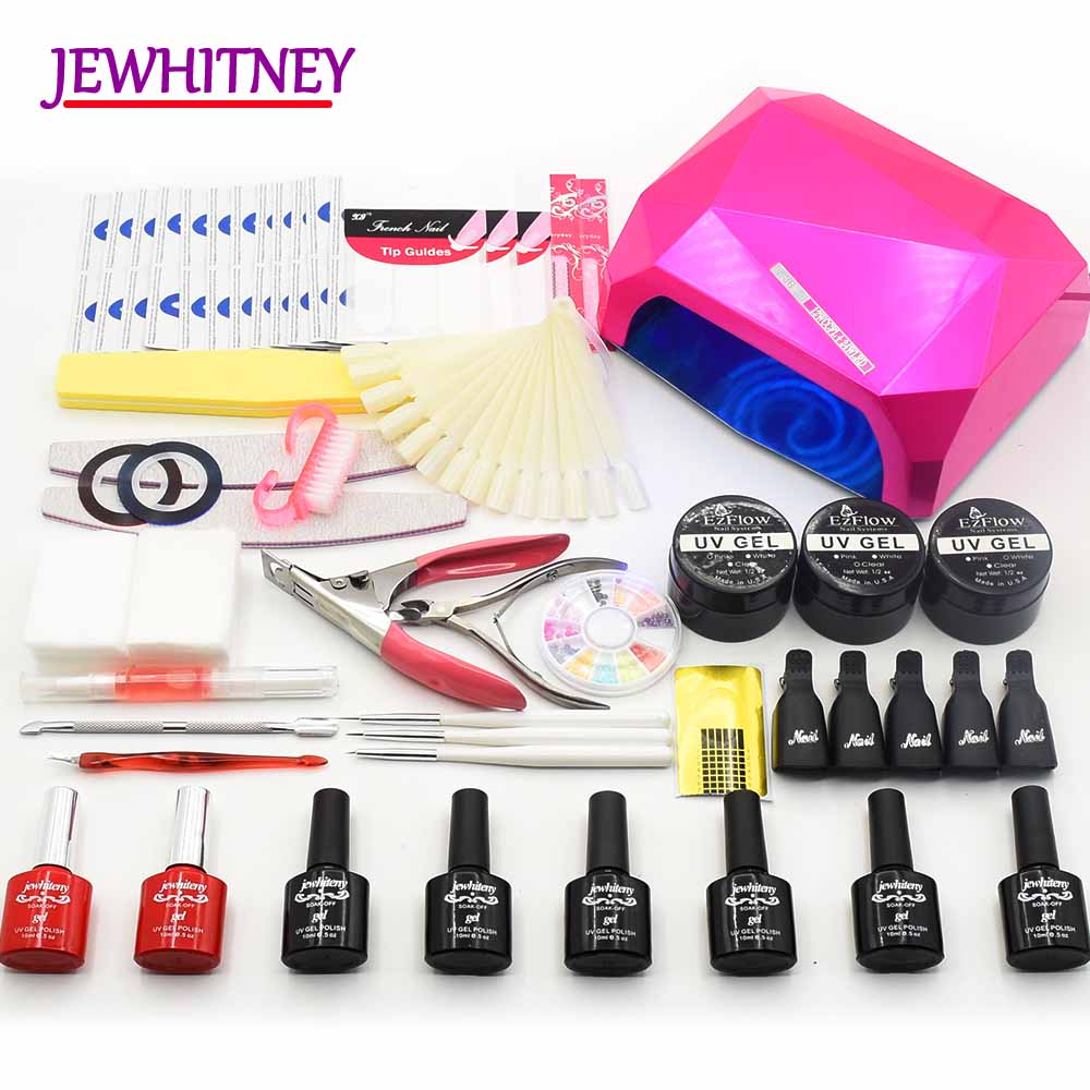 UV gel polish Nail Kit UV LED lamp Manicure Set Gel varnish uv extention gel manicure nail art tools Nail sets kits 36W 48W nail art salon supplies kit tool uv gel nail polish diy makeup full set manicure set free shipping