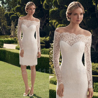 Vestido De Novia Corto 2016 Short Lace Mermaid Wedding Dress Boat Neck Knee Length Long Sleeve