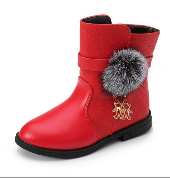 d41c36562 Winter Fashion child girls snow boots shoes warm plush soft bottom baby  girls boots comfy kids leather winter snow shoe for bab
