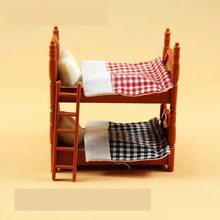 Double beds suit for Sylvanian Family figures toy 1:12 doll house mini bedroom set mini living room furniture toy gift(China)