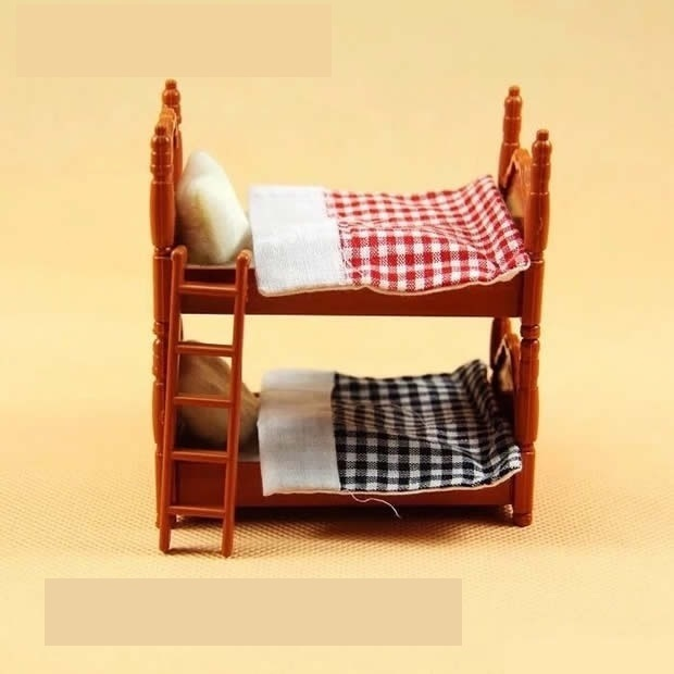 Double beds suit for Sylvanian Family figures toy 1:12 doll house mini bedroom set mini living room furniture toy gift