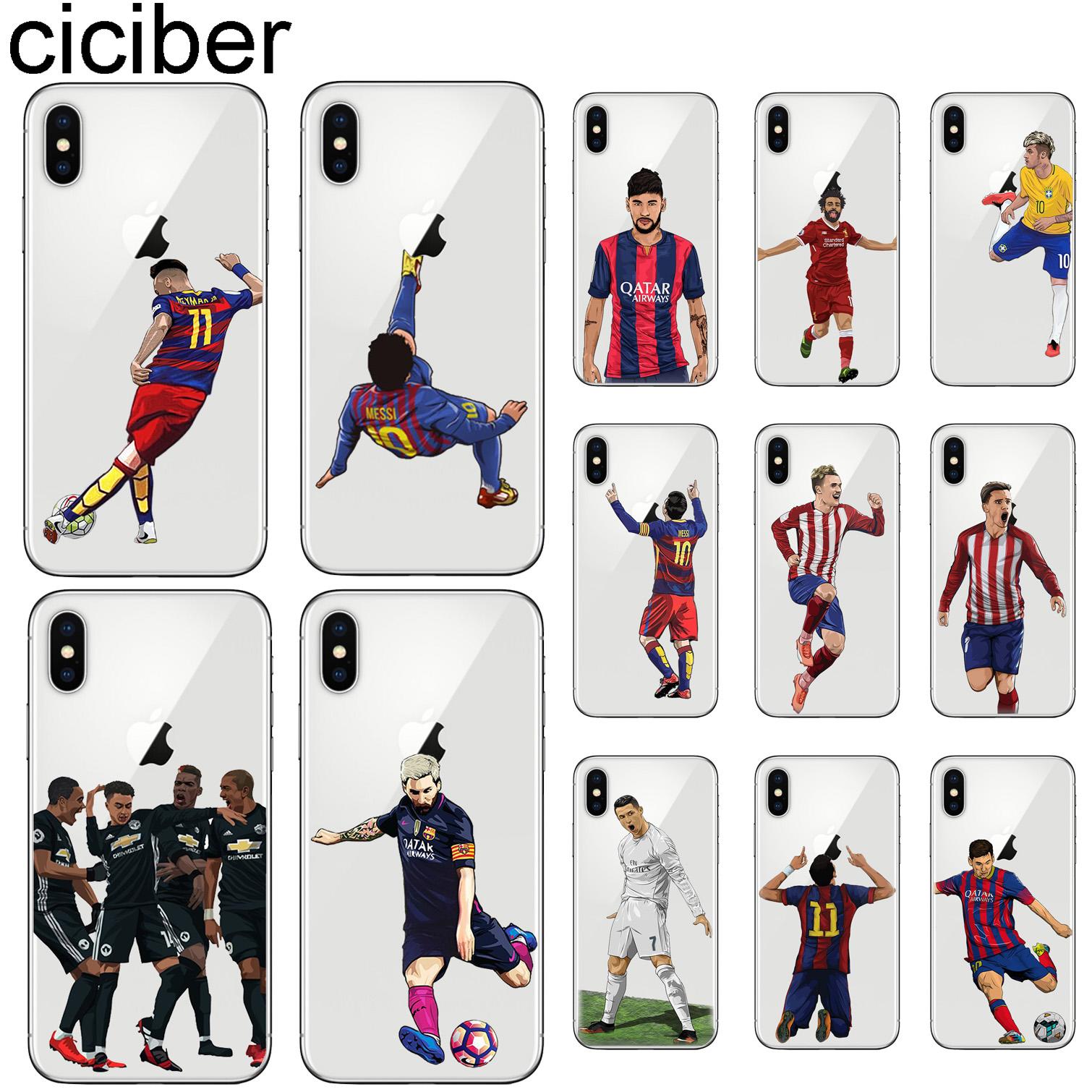 ab5866bb155 ciciber For Iphone 7 8 6 6S Plus 5S SE X XR XS MAX Cover Soft silicone TPU  Clear Phone Cases Messi Neymar Football Jersey Fundas