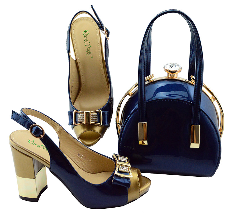 все цены на New 2018 Arrival Italian Shoes With Matching Bag Set For Wedding Party Fashion Women Pumps African Shoes and Bags Dark blue онлайн