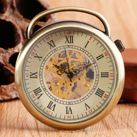 Style Chain Men Retry Roman Numbers Pocket Watch Skeleton Hand Winding Pocket Watch Classic Open Face