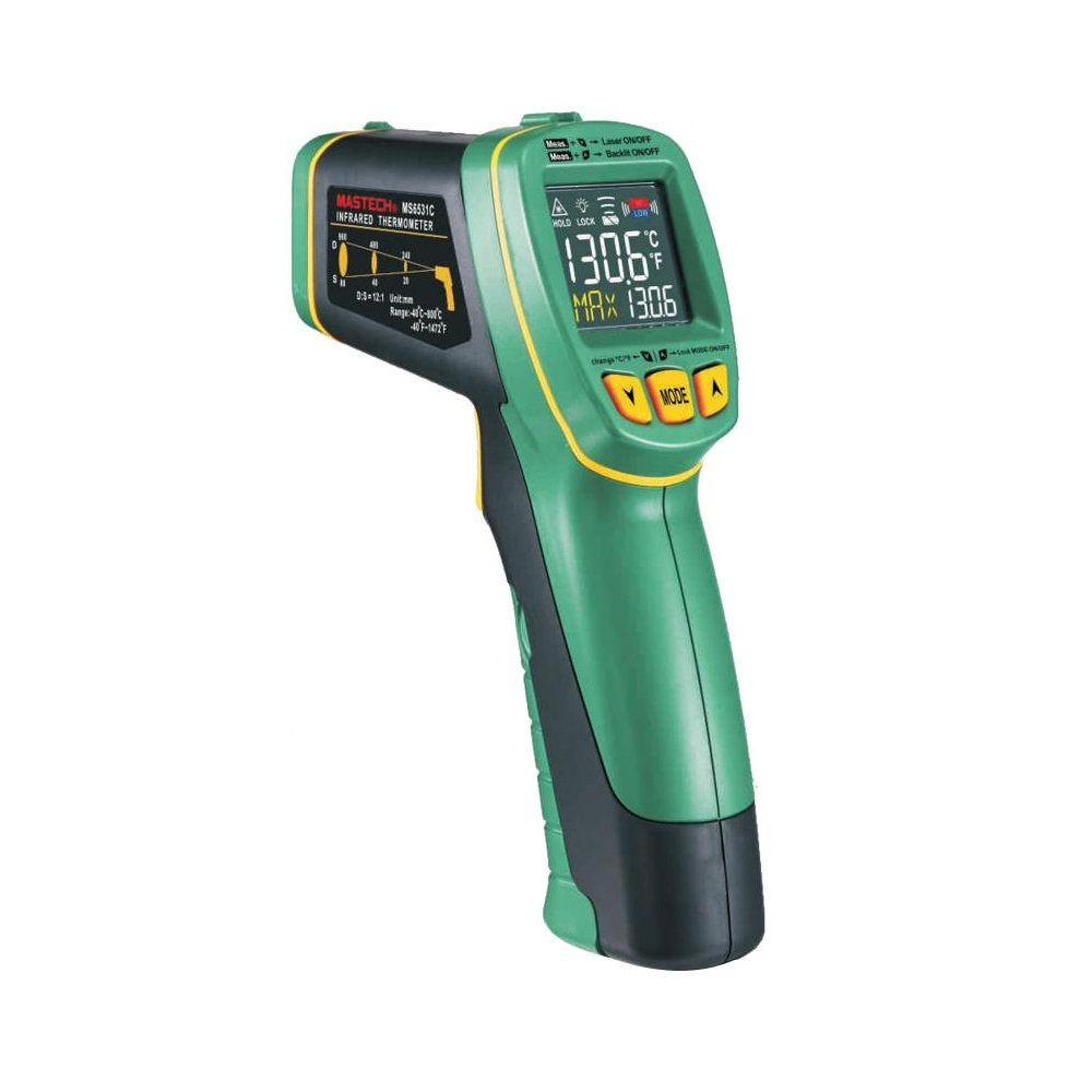 MASTECH MS6531C D:S 12:1 Handheld Digital LCD IR Thermometer Laser Temperature Tester Pyrometer Pyrometer Range -40~800 celsius 2 2 lcd digital thermometer handheld temperature tester 1 x 9v 6f22