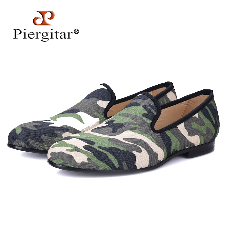 Piergitar British design classic-traditional loafers and military motif Camo print with leather insole men canvas casual shoes шампунь schauma push up объем 380 мл 1911322 2201922 2016397 2049347