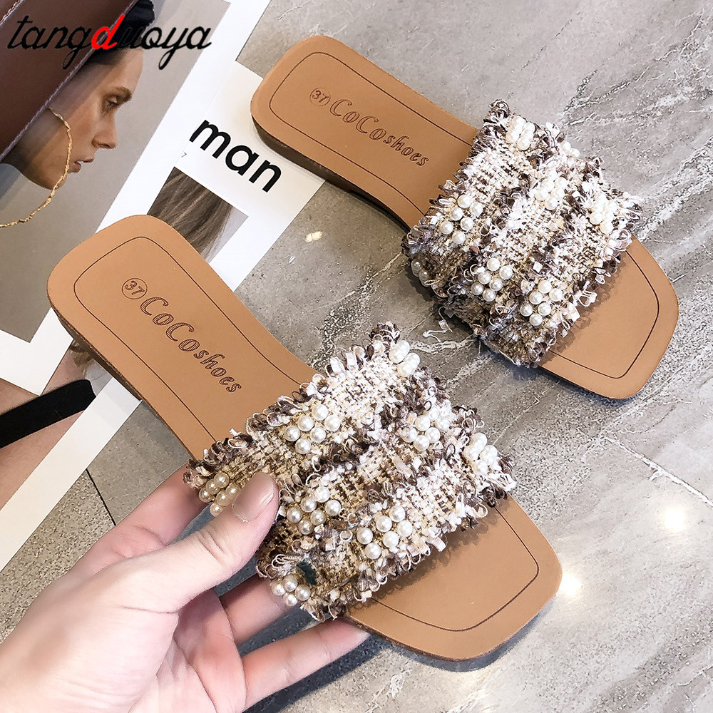 pearl slippers women shoes open toe sandals flats casual summer shoes woman beach slippers for women 2019 zapatos de mujerpearl slippers women shoes open toe sandals flats casual summer shoes woman beach slippers for women 2019 zapatos de mujer