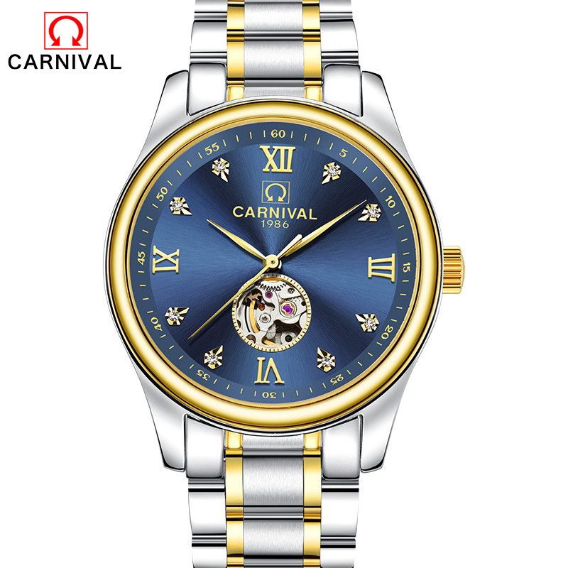 Mens Watches Top Brand Luxury Automatic Mechanical Watch Clock CARNIVAL 2017 New Series Auto Date Golden case relogio masculino winner auto date automatic mechanical watches mens watches top brand luxury relogio masculino business wristwatch