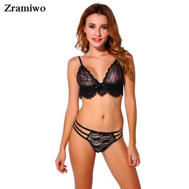 Eyelash Triangle Bra Panty Set Unlined Bralette Set Wirefree Brassiere Suit Fashion Crop Top Women Underwear