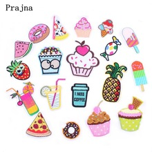 Prajna Cute Food Pizza Fruit Ice Cream Patch Sew Iron On Cartoon Patches Kids Fashion Embroidered For Clothes Applique