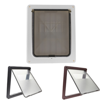 Extra Large 13.7''x11.8''x1.5''Pet Cat Dog Lockable Flap Door Gate Telescoping Frame Transparent Magnetic Closure Design Doors 2
