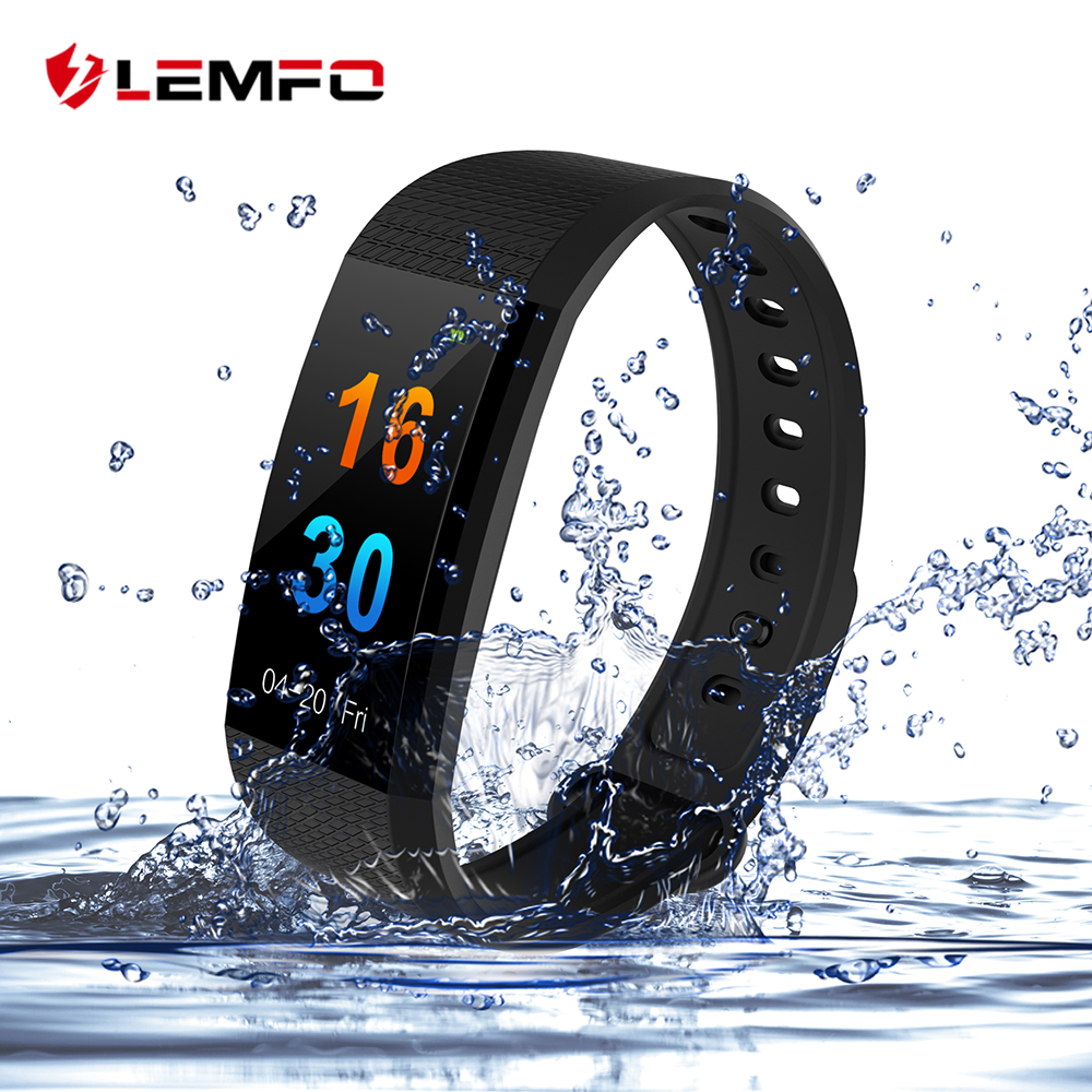 LEMFO Color Touch Screen Sport Fitness Bracelet IP68 Waterproof Pedometer Heart Rate Monitor Blood Presure Oxygen PK Mi Band 3