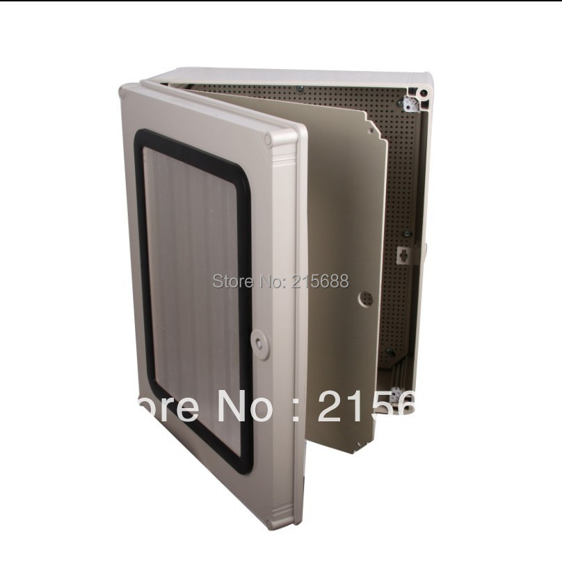 Saipwell PC plastic box hinged lid container metal enclosure watertight distribution box power supply 500*400*190mm SP-AG-504019 white plastic cuboid 2 4 way power distribution box guard cover