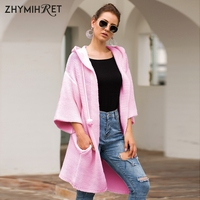 ZHYMIHRET Autumn Winter Pink Sweater Women Hooded Cardigan Mujer With Pockets Loose Warm Knitted Sweaters Winter Clothes 2019