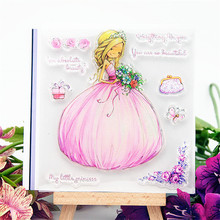 Прозрачные штампы розовые свадебные Силиконовые печати Ролик Штамп DIY Скрапбукинг фото альбом/изготовление карт