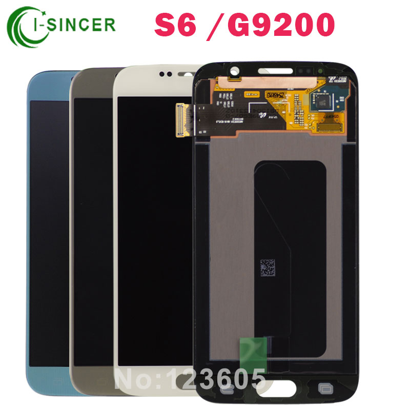 LCD Display For Samsung for Galaxy S6 G9200 LCD Touch Screen Digitizer Assembly Replacement Part, Gold/Blue/White Free Shipping