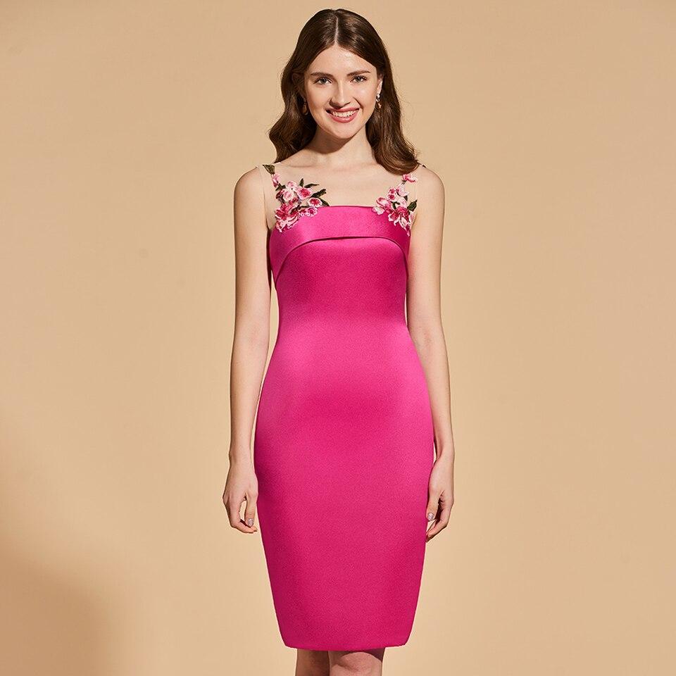 Dressv cocktail dress elegant scoop neck knee length sheath beading ...