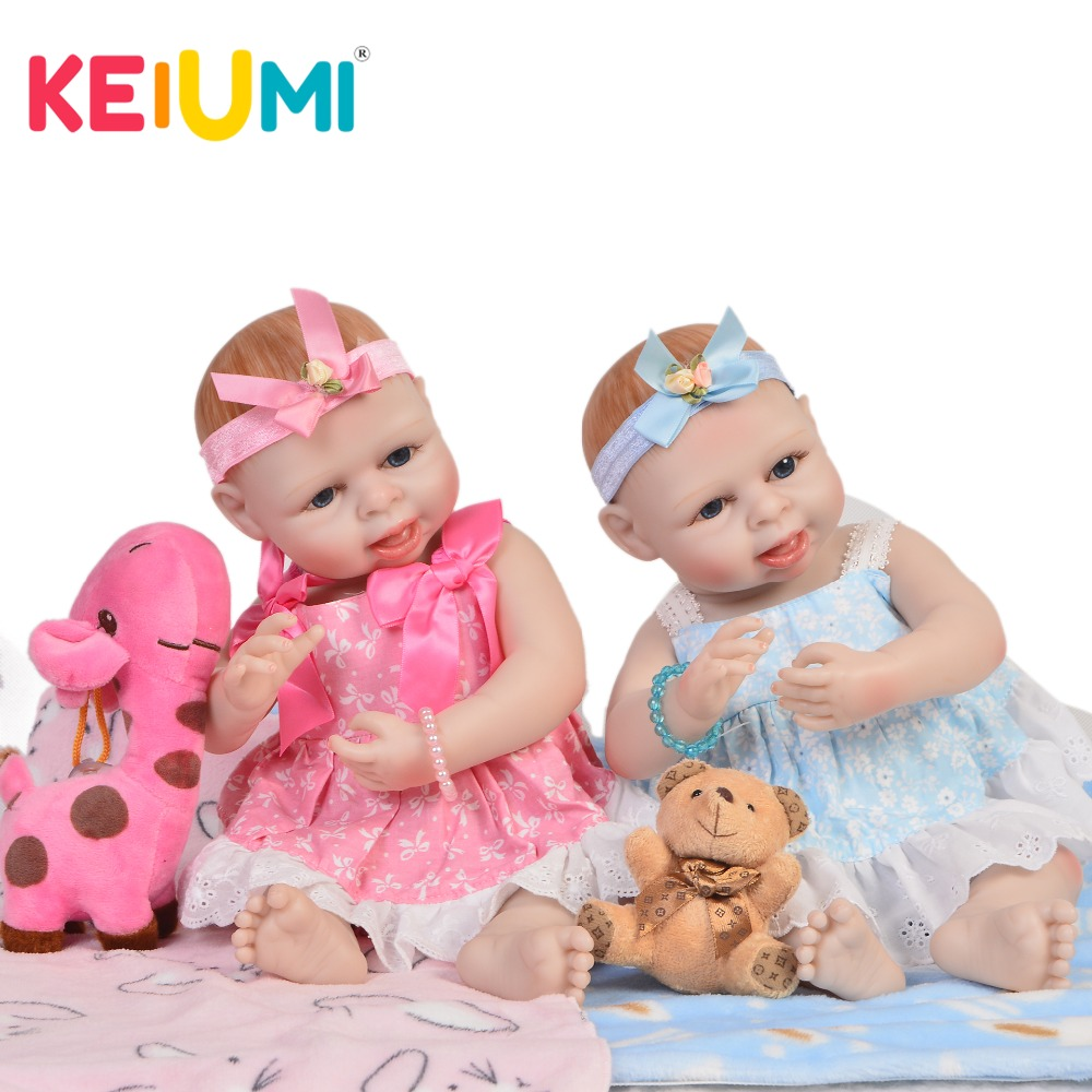 KEIUMI Collection 45 cm Full Silicone Vinyl Reborn Baby Dolls twins Girls Realistic Princess 19'' Boneca Reborn bebe DIY Toys цена