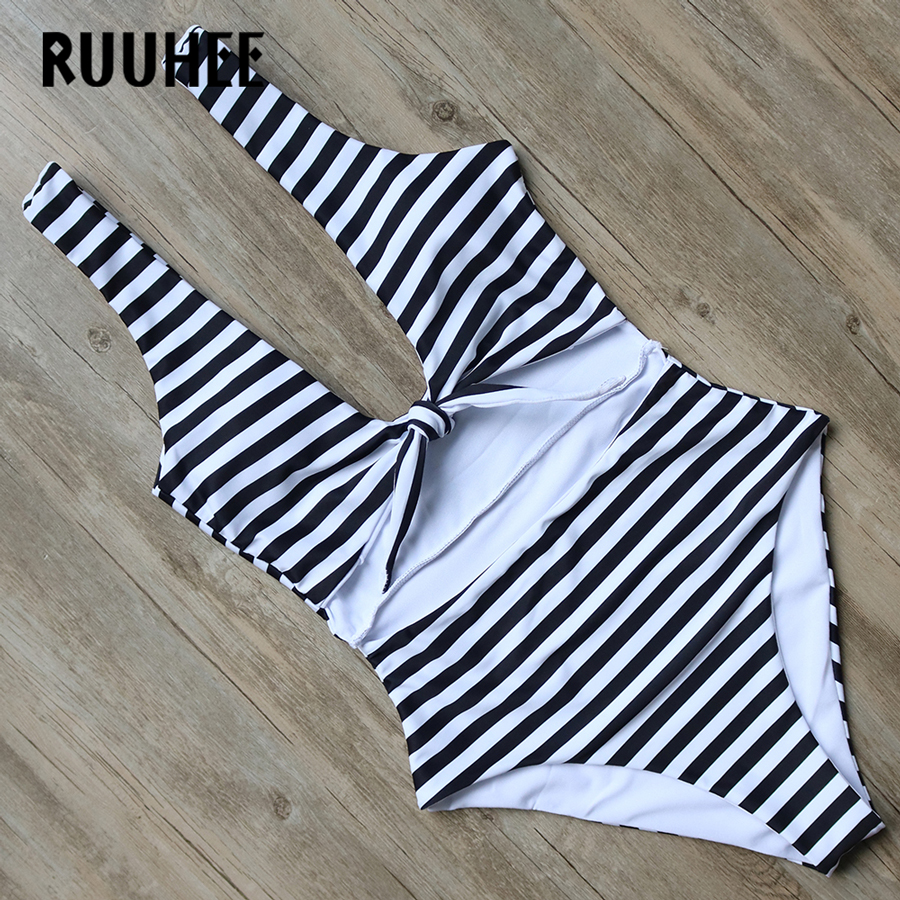 RUUHEE Swimwear Women One Piece Swimsuit Striped Bodysuit 2018 Brand Bathing Suit Monokini Swimming Suit Maillot De Bain Femme contrast striped side bodysuit