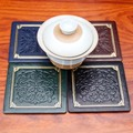 6Pcs Luxurious PU Leather Classic Pattern Square Coffee Cup Placemat Coasters With Holdermat Cup Placemats Mug Mats