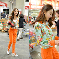2016 Novas Mulheres Da Moda Agasalho Sportswear Coreano 2 Peça Set Mulheres Inverno Impresso Com Capuz Casaco e Calças Terno de Algodão Roupas