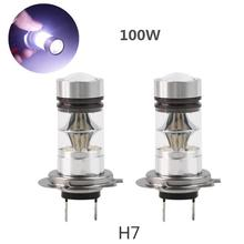 2Pcs H7 100W LED Car Fog Tail Driving Light Bulb 6000-6500K 1800Lm High Power White Automotive Replacement Head Lamp 12-24V