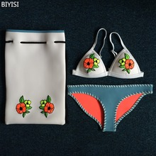 BIYISI 2017 Handmade Knitted Crochet Neoprene Bikini Set Swimwear Bikini Bathing Suit Swimsuit Embroidery Bikini Free Shipping