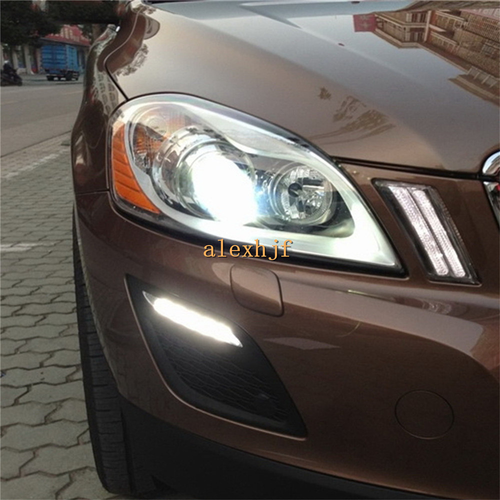 Yeats LED Daytime Running Lights DRL Case for VOLVO XC60 2009~2013, LED Front Bumper Fog Lamp, 1:1 Replacement, Fast shipping for opel astra h gtc 2005 15 h11 wiring harness sockets wire connector switch 2 fog lights drl front bumper 5d lens led lamp
