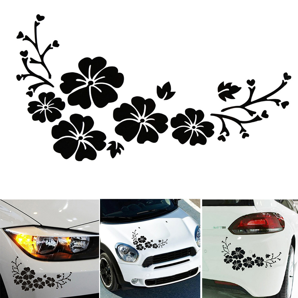 Car bumper sticker designs - Car Styling Lovely Flowers Reflective Decorative Stickers 30x14cm Car Sticker Front Bumper Cover Scratches Decals Bumper