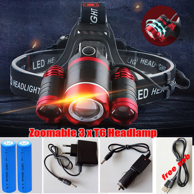3 CREE XM L T6 LED Headlamp Headlight 14000 Lumens LED Head Lamp Camp Hike Emergency Light Fishing Outdoor Equipment