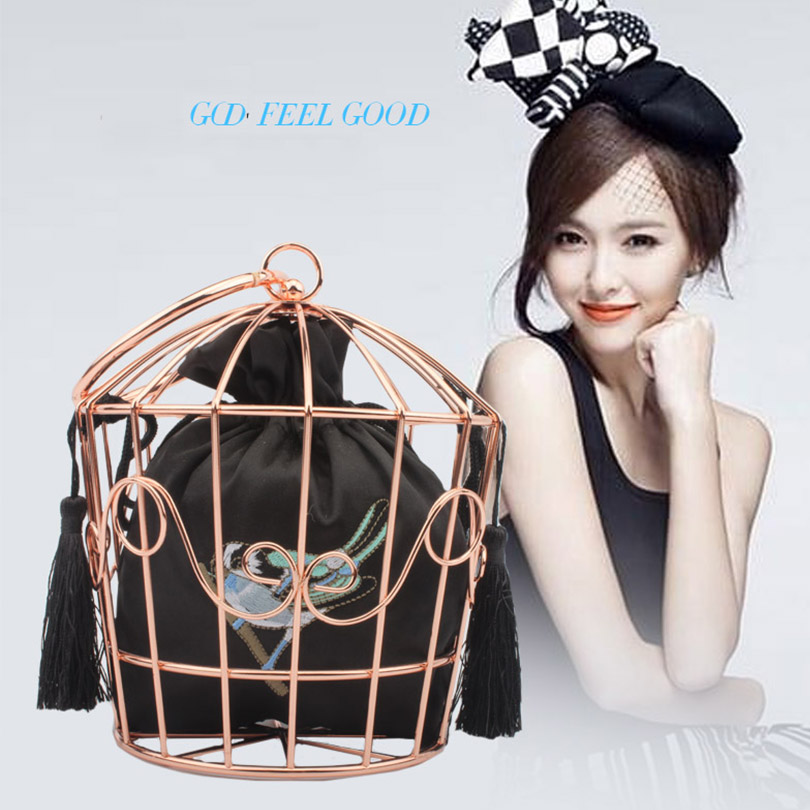 LETODE Boutique Rose Gold Metal Bird Cage Women Fashion Handbags Purse Evening Totes Bags Party Banquet Prom Clutch Bag Quality