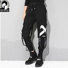 Elastic material Street Cargo Pants Women Casual Joggers Black High Waist Loose