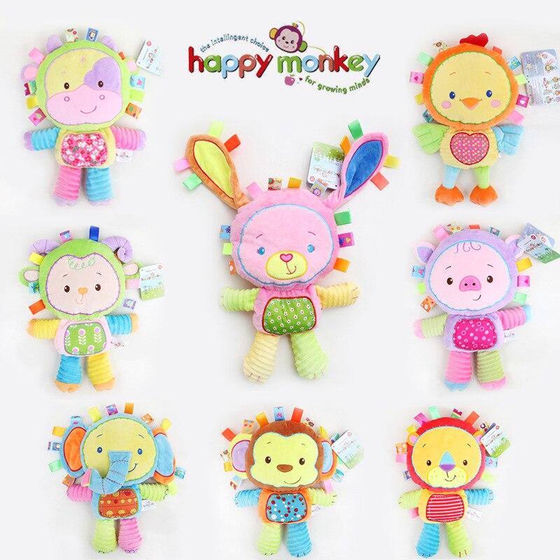 HAPPY MONKEY Rattle Sound Plush Baby Toy Animal rabbit Doll