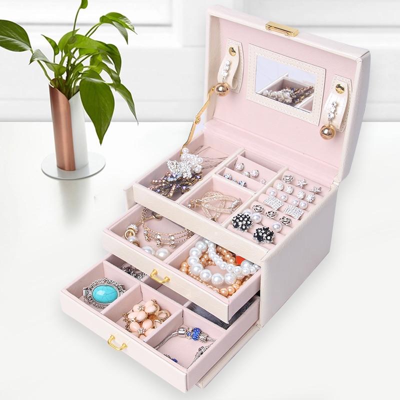 JULY'S CHANSON Blanc PU En Cuir Emballage et Affichage Boîte Élégant 3 Couches Bijoux Boîte De Rangement Organizer Container comme Cadeaux