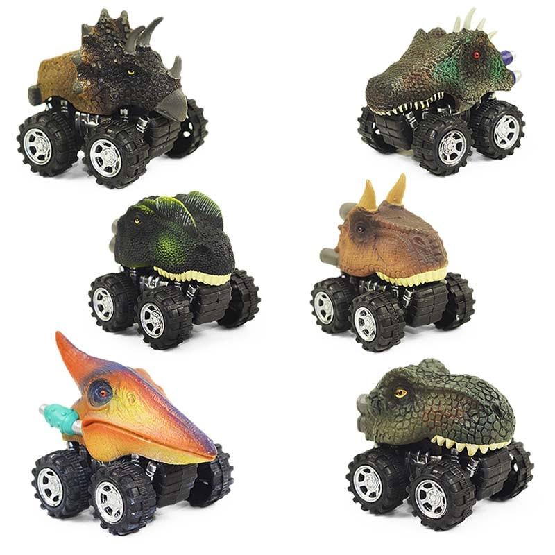 6 Styles Dinosaur Tyrannosaurus Tatankacephalus Dilophosaurus Triceratops Pterosauria Spinosaurus Model Mini Toys Back Car