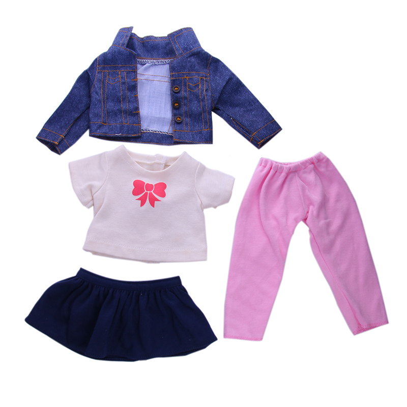 1 Set=shirt+dress+leggings+Jacket Fit 18 Inch American&43 CM Baby Doll Clothes Accessories,Girl's Toys,Generation,Birthday Gift
