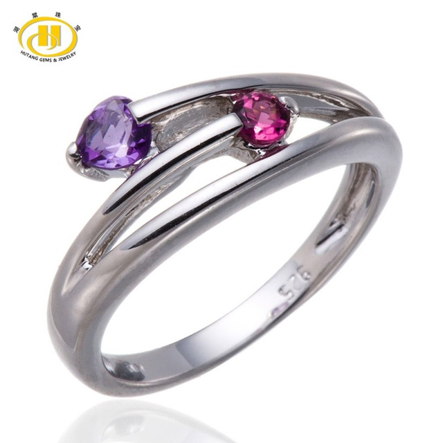 Hutang Natural Amethyst & Pink Tourmaline Gemstone Solid 925 Sterling Silver Heart Ring Summer Style