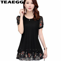 TEAEGG Black Woman Shirt Summer Blouses For Women 2019 Blouse Chiffon Womens Blouses And Tops Blusa Mujer Plus Size 5XL AL1174