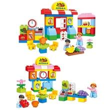цена на 57pcs City Supermarket Fruit Store Model Building Brick Kits DIY City Mall Compatible Duploe Blocks Toys