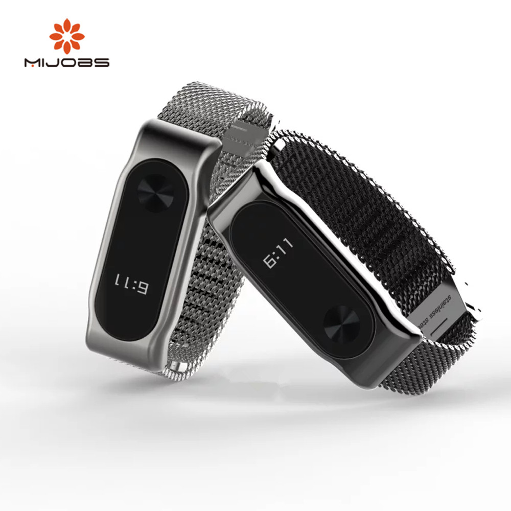 Mijobs Mi Band 2 Strap Bracelet wrist strap Mi band2 Smart Band Strap MiBand 2 Wristband black Magnet Metal for xiaomi Mi Band 2 milanese loop bracelet for xiaomi mi band 2 strap stainless steel metal wrist band for xiaomi mi band2 replacement wristband