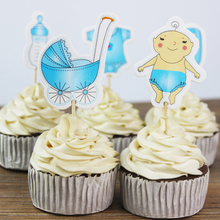20 Pcs/lot Cute Baby Bottle Strollers Clothes Cupcake Toppers Pick Cartoon Girl Boy Set child Birthday Family Cake Decoration(China)